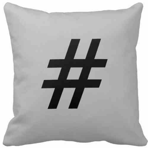 Pillow with a pound hashtag symbol
